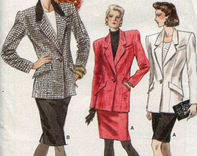 FREE US SHIP  Vogue 7076 Vintage Retro 1980's 80's Wide Shoulder Suit Jacket Skirt Uncut Sewing Pattern Size 6 8 10 Bust 30.5 31.5 32