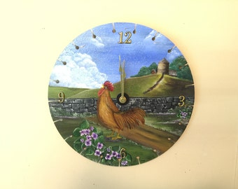 Hand painted saw blade clock with rooster