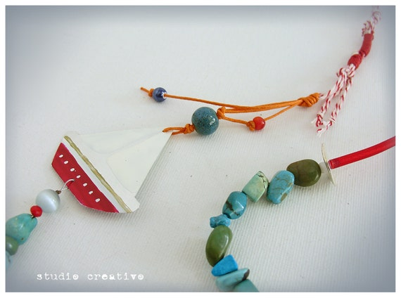Items similar to Boat full of hopes Necklace, Summer ...