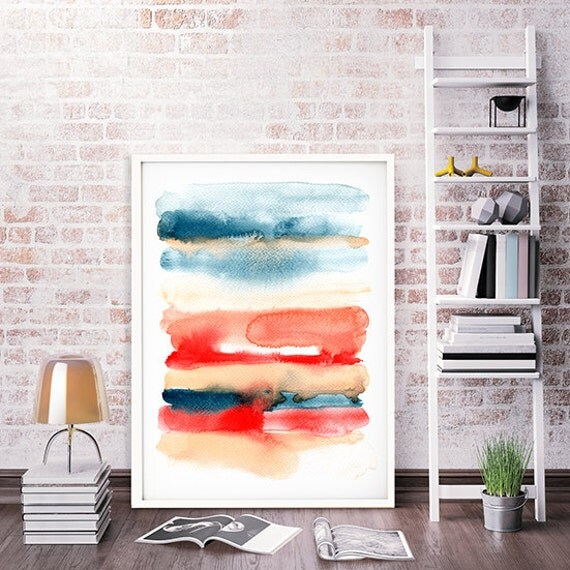 Abstract Print Red Watercolor Art Minimalist Colorful Poster Painting