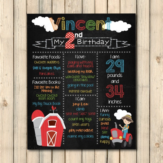 Farm Theme Birthday Chalkboard Sign Poster Printable Barn