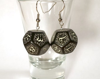 Glow-in-the-dark D12 Elvish Dice Earrings