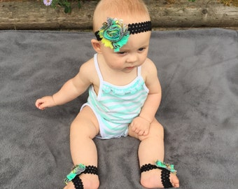 Sandal/Headband Sets - Baby Sandals - Flower Sandals - Barefoot Baby Shoes