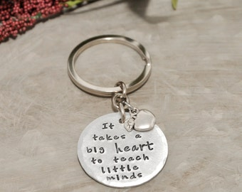 Inspirational teacher key chain,  hand stamped, key chain for teacher, teacher appreciation day