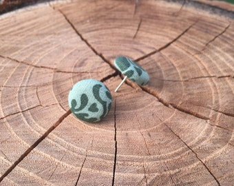 Green design fabric button earrings