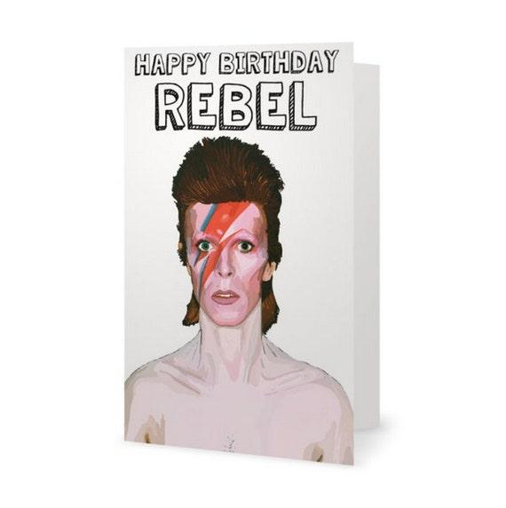 David Bowie Card Birthday Card Ziggy By ExGirlfriendsCards