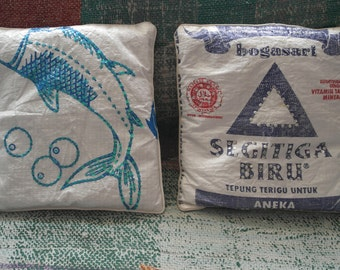 Recycled rice bag cushion cover