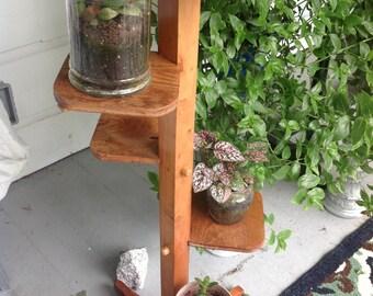 Clearance vintage,Houseplant or knick knack stand, handmade, hardwood-1957,3 feet
