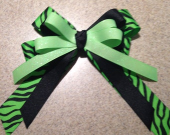 Lime Green and Black Zebra Bow