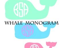 Vineyard Vines Inspired Whale Monogram Southern Vinyl Decal