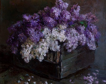 Lilac, print of original oil painting on canvas, still life, nature morte, fine art 23,6'' x 19,7'' (60 x 50 cm)