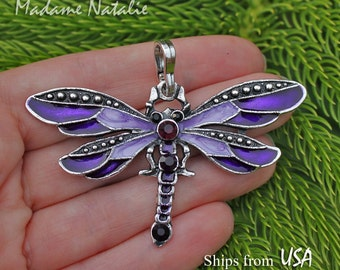Purple Dragonfly Pendant, Purple Rhinestone and Enamel Butterfly, Violet Butterfly, Insect Pendant, Long Necklace Dragonfly Pendant