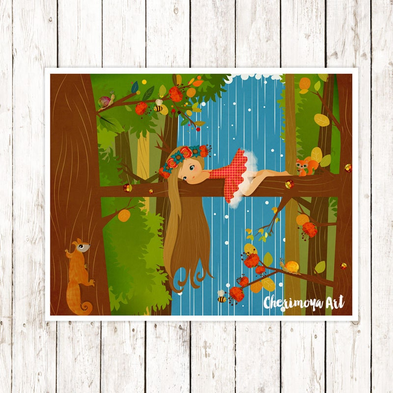 Woodland Nursery Wall Decor : Woodland nursery art print wall decor girl