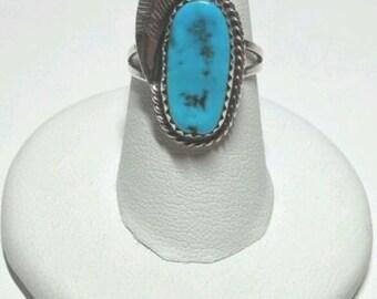 Turquoise Ring Squash Blossom Sterling Southwestern Navajo