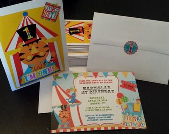 8 Carnival, Circus 1st Birthday Invitations
