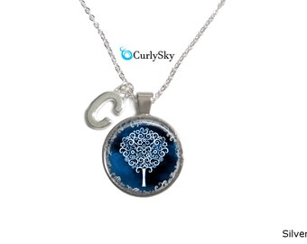 Navy Blue Necklace Blue Tree Necklace Blue Tree Necklace Blue Navy Necklace Navy Blue Pendant Necklace Navy Blue Tree Necklace Blue Necklace