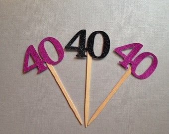 40th birthday cupcake toppers . 40th birthday decoration . 40th birthday . 40 and fabulous . Forty and Flirty