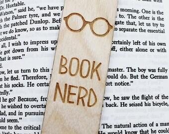 Book Nerd - Wooden Engraved Personalised Bookmark Book Geek Personalized Bookmarker
