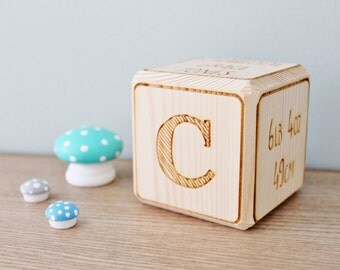 Personalised Baby Block - D.O.B Name Initial Letter Weight Length Place of Birth Christening Gift Nursery Decor