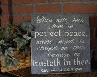 Perfect Peace Vinyl Tile Sign