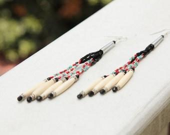 """Dangle Earrings/Bone Earrings/Tassel Earrings/6""""Long/Sterling Silver 925/Southwestern/Tribal Earrings/*FREE GIFT WRAP*"""