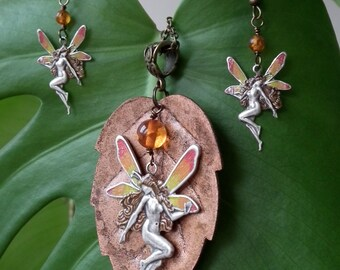 Autumn Fairy Pendant and Earring Set