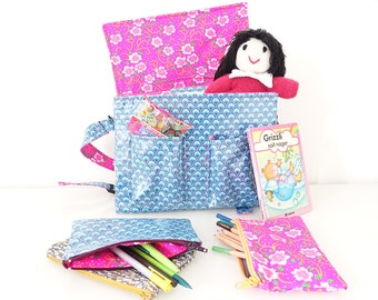 blue and pink schoolbag 31 x 23 x 8 cm