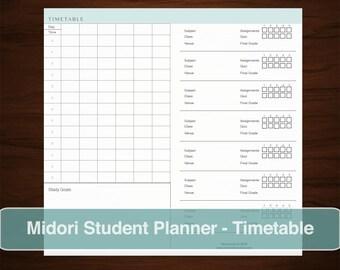 MIDORI  Student Planner Timetable Inserts, Refills Printable DIY Schedule Notebook Journal, School Daily Organizer, Homework Academic Grades