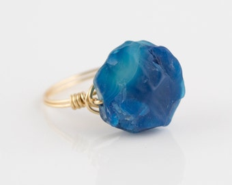 Blue Agate Ring, Wire Wrapped Ring, Agate Ring, Blue Ring, Wire Wrap Ring, Wire Ring, Blue Boho Ring, Blue Agate Wire Wrapped Ring
