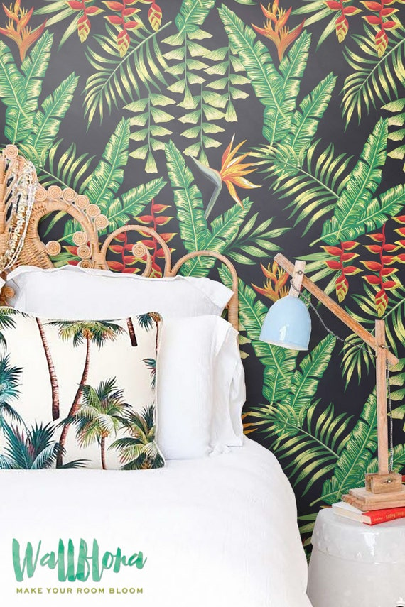 Heliconia Flower and Exotic Leaves Wallpaper, Removable Wallpaper, Palm Wall Sticker, Heliconia Flower Self Adhesive Wallpaper, 133