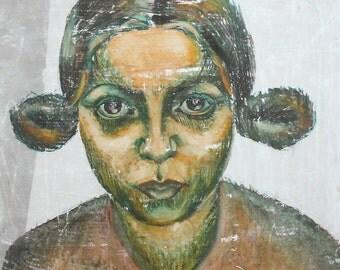 Vintage girl portrait gouache painting expressionism