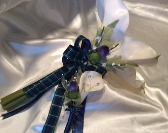 Wedding Flowers Calla Lily Bride Bouquet & complimenting Groom Boutonniere Scottish Wedding