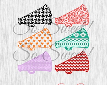 Patterned Cheer Megaphones SVG / DXF Silhouette Cut File Cheerleading Cheer Megaphone Chevron Aztec Heart Greek Key Houndstooth Floral Svg