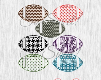 Patterned Footballs SVG / DXF Silhouette Cut File Zebra Houndstooth Chevron Aztec Polka Dot Hearts Moroccan Pattern Football Sports Svg Dxf