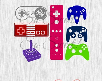 Video Game Controllers SVG / DXF Cut Files Video Gaming Gamer Silhouette Cut File Console Game Svg Dxf Retro Gamer Player 1 2 Controller Svg