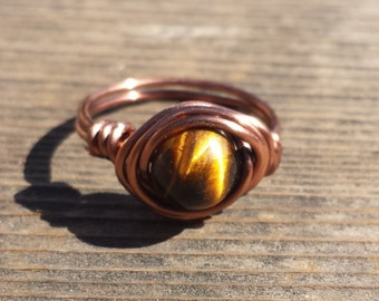 WIRE WRAPPED RING Tiger Eye  in Antiqued Copper Handmade