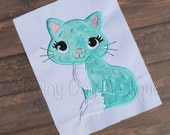 Kitty Applique, Cat Design, Kitty Cat Embroidery, Cute Kitty Applique, Cute Kitty Design, Pretty Kitty Applique, Cat Applique