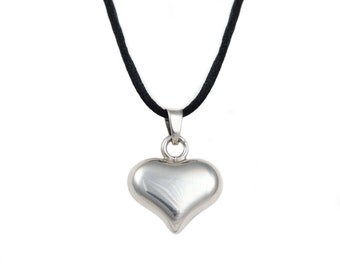 Silver Pendant with Cord - Heart