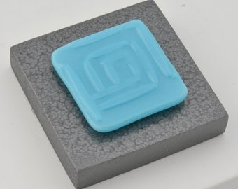 Glass Art Block Blue Maze