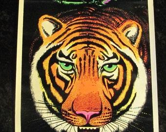 Flocked Vintage 1975~BENGAL TIGER~ BLACKLIGHT Poster 11x17