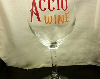 Harry Potter Inspired Accio Wine Glass Stemmed or Stemless CHOOSE YOUR HOUSE Colors Style 1