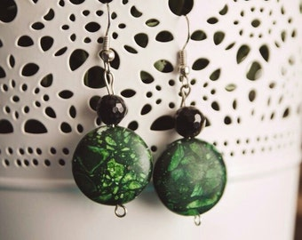 Agate and green Turquoise earrings