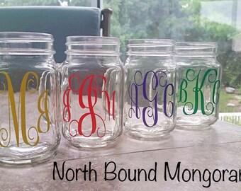Monogrammed Mason Jar Mug