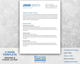 simple resume template word professional resume template for word resume cover letter template - Professional Chef Resume
