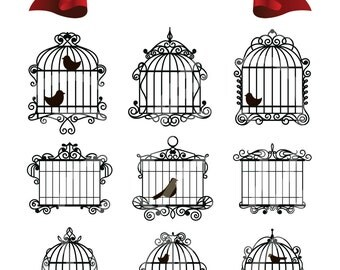 Vintage Bird Cages Digital Clip Art Wedding Decor Scrapbook Embellishment Classic Calligraphy Png Clipart Instant Download Commercial Use