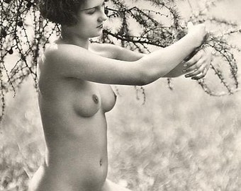 1920 s era lesbian nude study french postcard by vintageousclassic