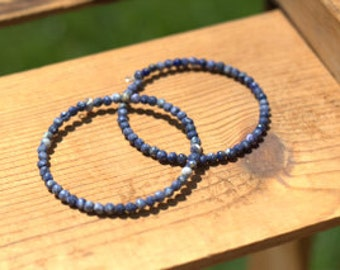 PAIR Blue Beaded Wire Wrap Bracelet