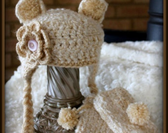 Baby Bear Hat with Legwarmers// soft and fuzzy bear hat with flower// Newborn Bear photo prop// baby girl fuzzy bear hat