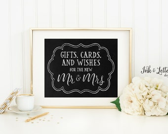 Wedding Card Sign - Wedding Chalkboard Print - Card Box Sign - Wedding Wishes - Rustic Wedding Decor - 8x10 Printable - Instant Download