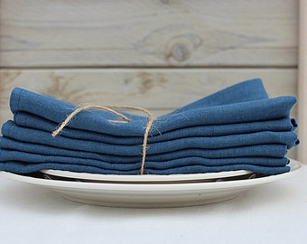 Linen napkins. Set of 6. Steel Blue. Hand made by LinenSky.